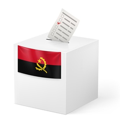 Ballot box with voting paper Angola vector