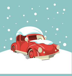 Beautiful retro car in the snow on the background vector
