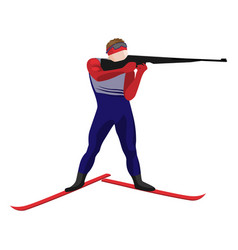 biathlonist with small-bore rifle standing on skis vector image