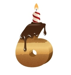 Birthday cake font - number six vector