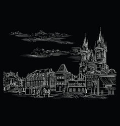 Black hand drawing prague 10 vector