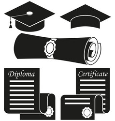 Black white graduation silhouette set 5 elements vector