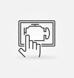 car engine diagnostics via tablet vector image