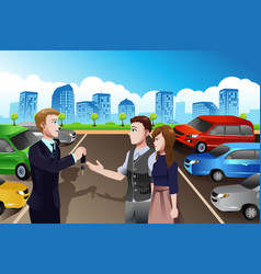 Car salesman with customers in the dealership vector