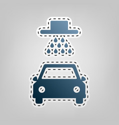 car wash sign blue icon with outline for vector image