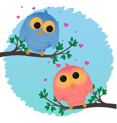 cartoon couple owl girl and boy love vector image