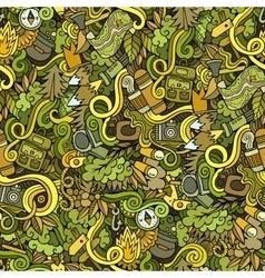 Cartoon doodles camping seamless pattern vector image