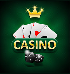 casino marketing banner with dice and poker cards vector image