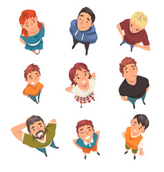 cheerful people characters looking up set view vector image