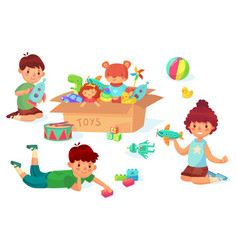 children playing with toys boy holding rocket in vector image