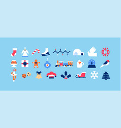 christmas season minimalist geometric icon set vector image