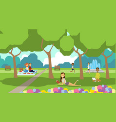 City park relaxing people sitting green lawn using vector