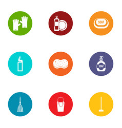 Clean icons set flat style vector