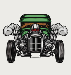 Colorful retro hot rod front view vector