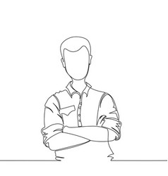 confident young handsome man one line vector image