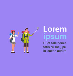 couple tourists with backpacks man and woman vector image