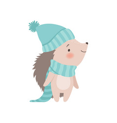 Cute hedgehog wearing light blue knitted hat and vector