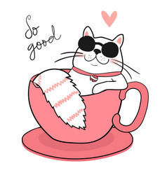 cute white fat cat with sun glasses sleeping in a vector image
