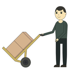 delivery man with carriage trolley icon cartoon vector image