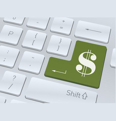 Dollar sign on white computer keyboard vector