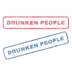 Drunken people textile stamps vector