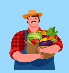Farmer holding basket fresh vegetables vector