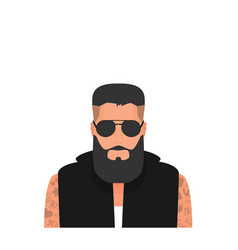 flat cartoon hipster character vector image