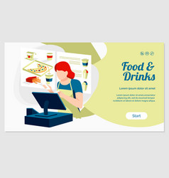 Food and drinks landing page vector