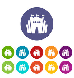 fortress icons set color vector image