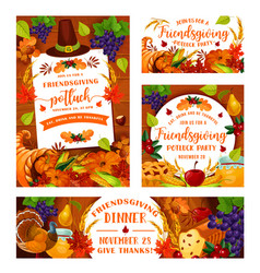 friendsgiving potluck thanksgiving dinner party vector image