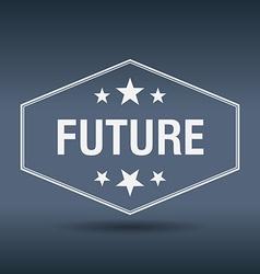 Future hexagonal white vintage retro style label vector