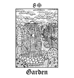 garden tarot card from lenormand gothic vector image