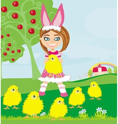 girl in bunny costume and sweet small chicks vector image
