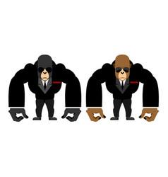 Gorilla bouncer big strong animal guard monkey in vector