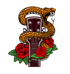 guitar head with snake and roses design element vector image