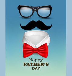happy holiday fathers day background with red bow vector image