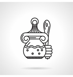 Honey jar black line icon vector