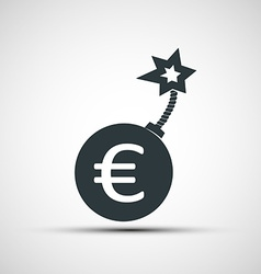 icon round bomb with a picture of the euro sign vector image