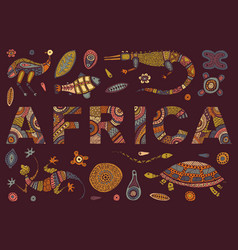 inscription of africa in ethnic style and vector image