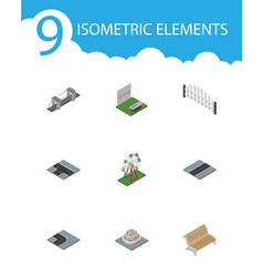 isometric architecture set of path aiming game vector image