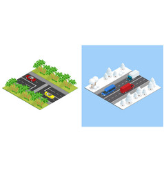 isometric roads with cars in summer and road in vector image