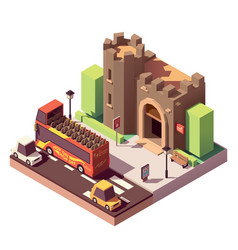 Isometric tourist attractions vector