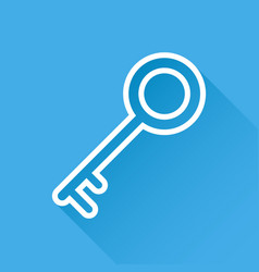 Key icon in flat style isolated on blue vector