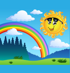 landscape with rainbow and sun 1 vector image