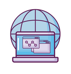Laptop with planet and webpages vector