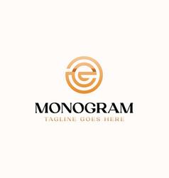 letter e circle monogram logo template vector image