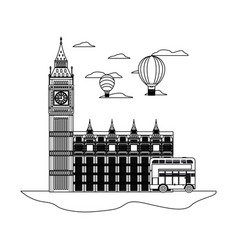 Line london clock tower with air balloon and bus vector