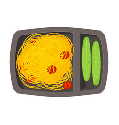 Meal tray filled with spaghetti and cucumbers vector