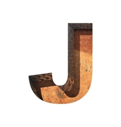 Metal cutted figure j Paste to any background vector