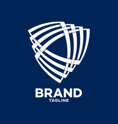 Modern shield and technology logo vector